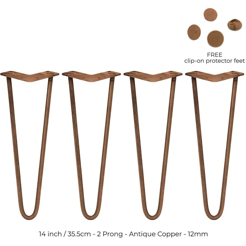 Image of 4 x 14' Hairpin Legs - 2 Prong - 12mm - Antique Copper
