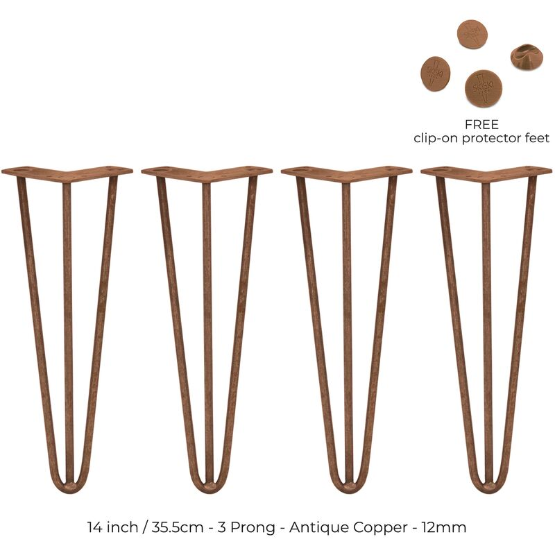 Image of 4 x 14' Hairpin Legs - 3 Prong - 12mm - Antique Copper