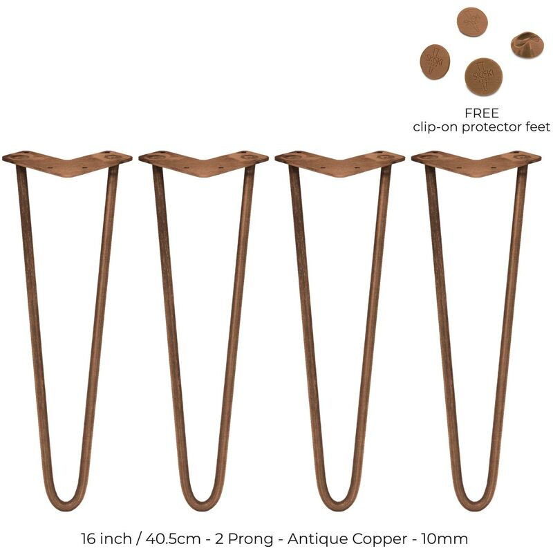 Image of 4 x 16' Hairpin Legs - 2 Prong - 10mm - Antique Copper