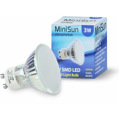4 x 3W LED Energy Saving Gu10 50W Halogen Replacement Light Bulbs - Cool White
