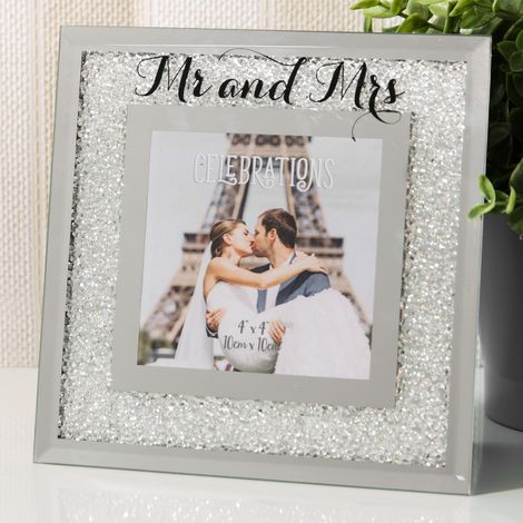 4' x 4' - Celebrations Crystal Border Frame - Mr & Mrs