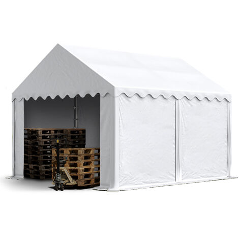 4 x 4 m Heavy Duty PVC Storage Tent with GROUNDBAR Shed Temporary Shelter Fabric Warehouse Building with Galvanized Steel Construction in white