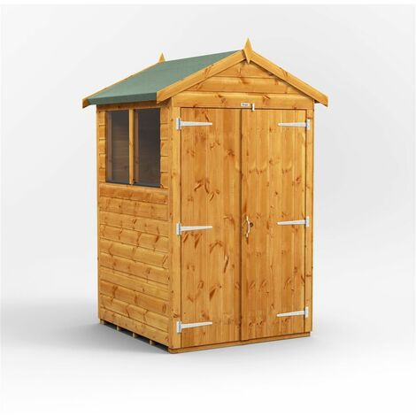 4 x 4 Premium Tongue and Groove Apex Shed - Double Doors - 2 Windows - 12mm Tongue and Groove Floor and Roof