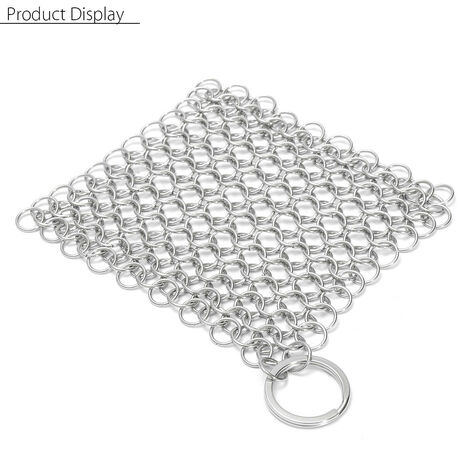 4 '' x 4 '' Stainless Steel Cast Iron Chainmail Ringer Scrubber Cleaner Skillet Pot Mohoo
