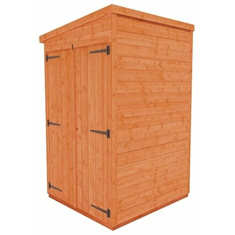 4 x 4 Windowless Tongue and Groove Pent Shed with Double Doors (12mm Tongue and Groove Floor and Roof)
