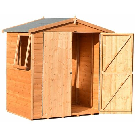 4 x 6 (1.33m x 1.89m) - Apex Tongue And Groove Shed - 3 Windows - (12mm Tongue And Groove Floor) (CORE)