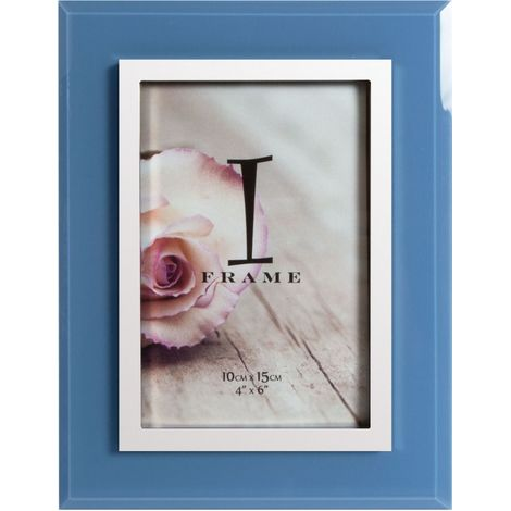 "4"" x 6"" - iFrame Blue & Silver Tone Photo Frame"