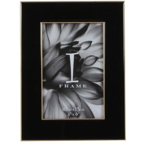 "4"" x 6"" - iFrame Die Cast Black Photo Frame - Gold Border"