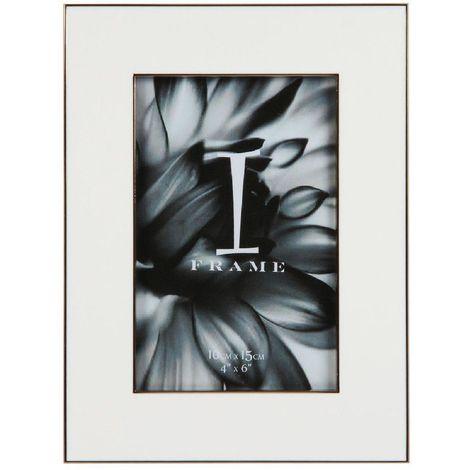 "4"" x 6"" - iFrame Die Cast White Photo Frame - Gold Border"