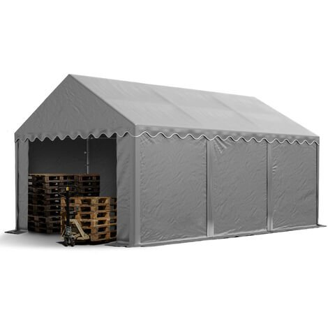 4 x 6 m Heavy Duty PVC Storage Tent Shed Temporary Shelter Fabric Warehouse Building with Galvanized Steel Construction in grey