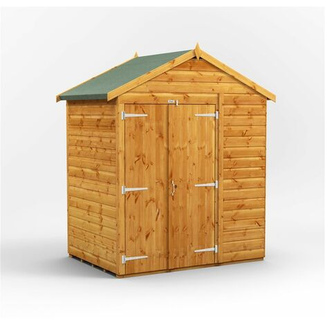 4 x 6 Premium Tongue and Groove Apex Shed - Double Doors - Windowless - 12mm Tongue and Groove Floor and Roof