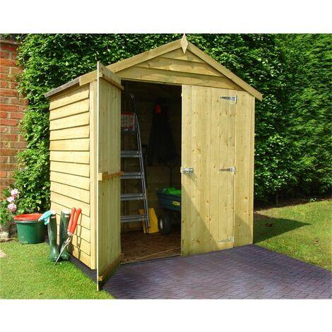 4 x 6 Reverse Pressure Treated Overlap Apex Garden Windowless Wooden Shed - Double Doors (11mm Solid OSB Floor)