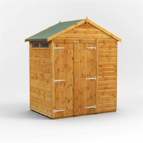 4 x 6 Security Tongue and Groove Apex Shed - Double Doors - 2 Windows - 12mm Tongue and Groove Floor and Roof