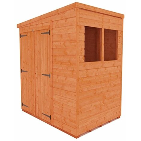 4 x 6 Tongue and Groove Pent Shed Double Doors (12mm Tongue and Groove Floor and Roof)