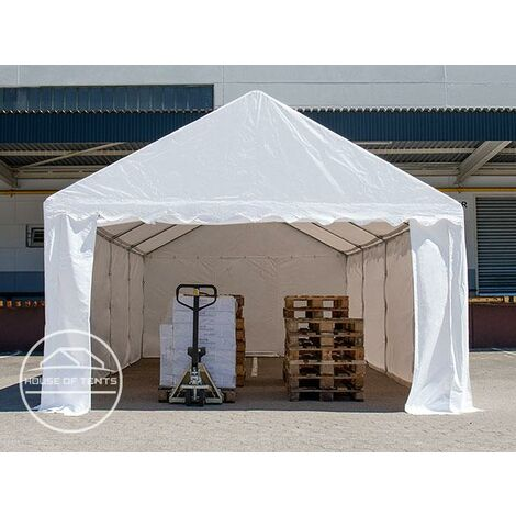 4 x 8 m Heavy Duty PVC Storage Tent Shed Temporary Shelter Fabric Warehouse Building with Galvanized Steel Construction in grey