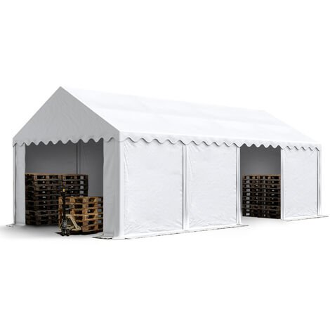 4 x 8 m Heavy Duty PVC Storage Tent Shed Temporary Shelter Fabric Warehouse Building with Galvanized Steel Construction in white