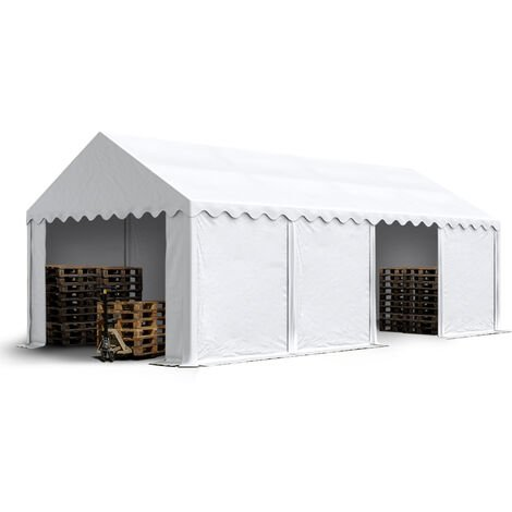 4 x 8 m Heavy Duty PVC Storage Tent with GROUNDBAR Shed Temporary Shelter Fabric Warehouse Building with Galvanized Steel Construction in white