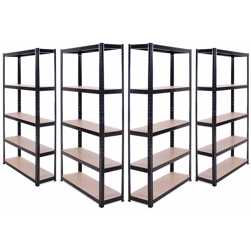 Image of 4 x Black Metal 5 Tier Garage Shelves Shelving Unit Racking Storage 180x90x30cm - G-RACK