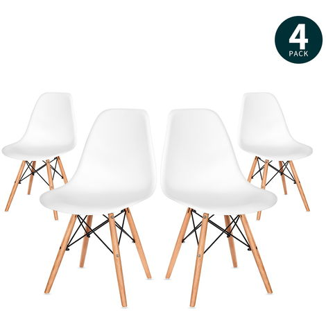 4 x Black Modern Wood Legs Plastic Seat Dining Chairs for Cafe Restaurant Dining Room, 63 x 61.5 x 79cm
