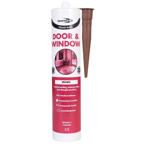 4 x Bond it Brown Frame Mate Door and window silicone for sealing and draught proofing
