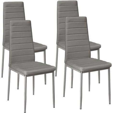 4 x chaises de salle à manger chaise de cuisine gris chaise chaises ligne horizontale