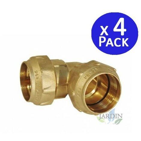 4 x Codo latón 32mm para tubería de polietileno