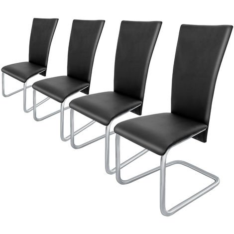 4 x Dining Chairs Faux Leather Chair Dinner Padded Furniture Black White Seats
