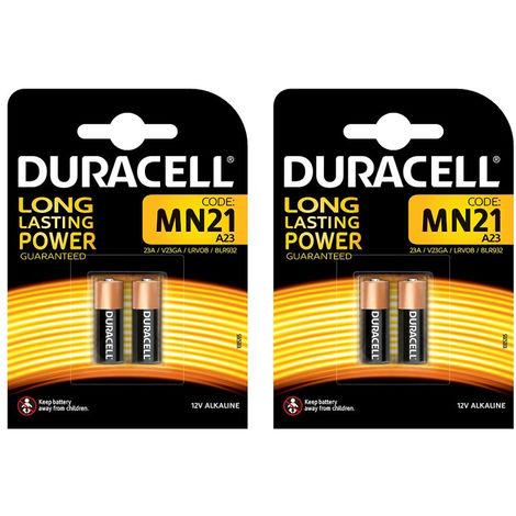 4 x Duracell MN21 Specialty Alkaline Battery 12 V Long Lasting Power Batteries
