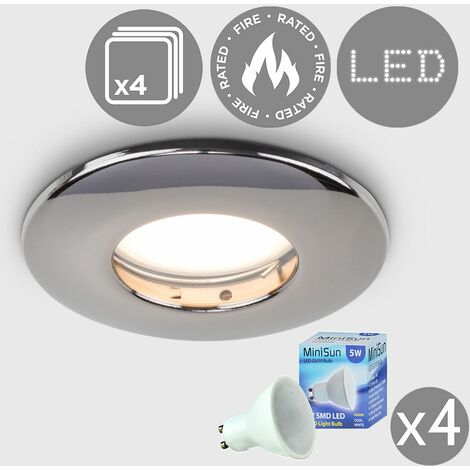 """main image of """"4 x Fire Rated Bathroom IP65 Domed Ceiling + Cool White LED GU10 Bulbs - Black"""""""