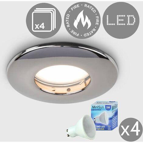 4 x Fire Rated Bathroom IP65 Domed Ceiling + Cool White LED GU10 Bulbs - Brushed Chrome