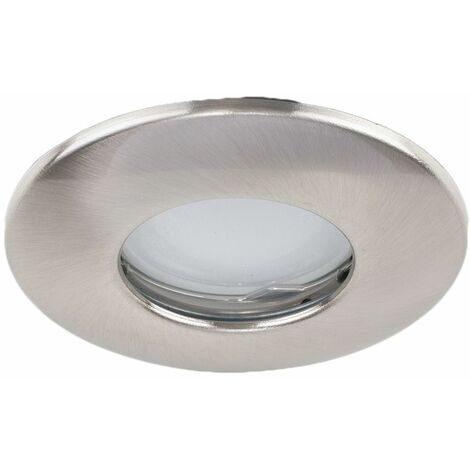 4 x Fire Rated Bathroom IP65 Domed Ceiling + Cool White LED GU10 Bulbs - Brushed Chrome - Silver