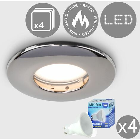 4 x Fire Rated Bathroom IP65 Domed Ceiling + Warm White LED GU10 Bulbs - Brushed Chrome