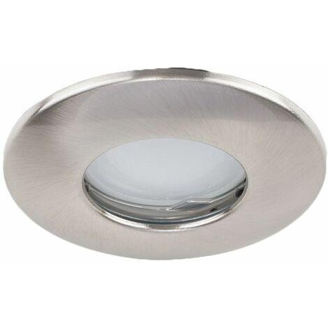 4 x Fire Rated Bathroom IP65 Domed Ceiling + Warm White LED GU10 Bulbs - Brushed Chrome - Silver