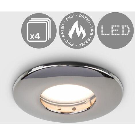 4 x Fire Rated Bathroom IP65 Domed GU10 Ceiling - Satin Chrome
