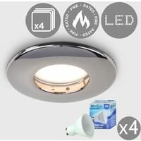 4 x Fire Rated Bathroom/Shower IP65 Domed Ceiling + 4 x GU10 LED Bulbs