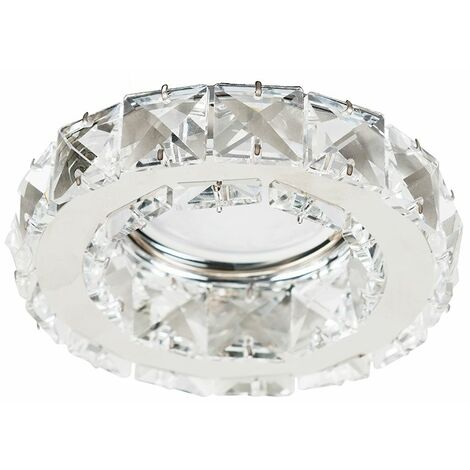 4 x Fire Rated Chrome & K9 Crystal GU10 Ceiling Downlights 5W LED Bulbs Warm White