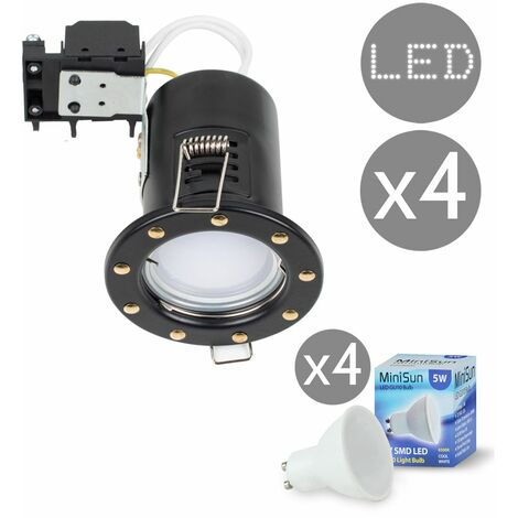 4 x Fire Rated Gu10 Recessed Ceiling Spotlights + LED Gu10 Bulbs