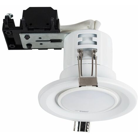 4 x Fire Rated Paintable GU10 Recessed Ceiling Downlight Spotlights + 5W LED Bulbs