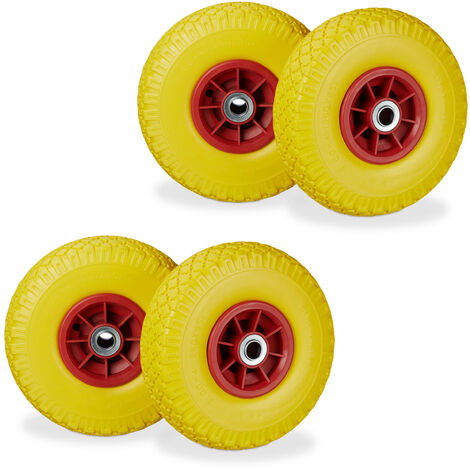"""4 x Hand Truck Tyre, Non-Flat Solid Rubber Wheels, 3.00-4"""", 20mm Axle, 80 kg, 260 x 85 mm, Yellow-Red"""