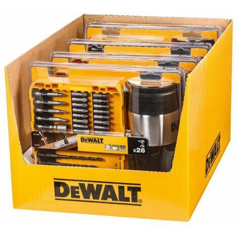 4 x Mixed Drill/Screwdriver Bit Set 26 Piece + Thermal Travel Mug (DEWDT71580M)