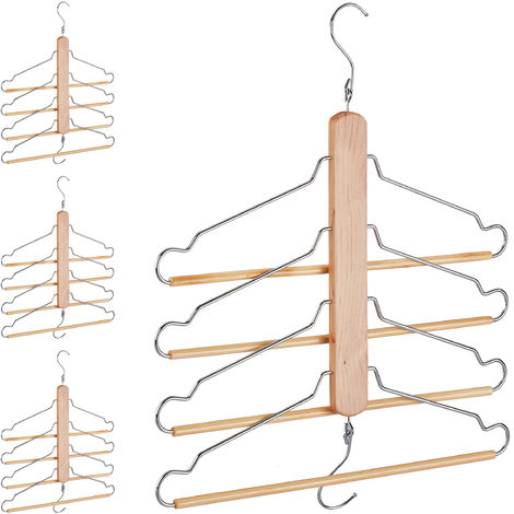 4 x Multi Clothes Hanger, Holder with 4 Flexible Coat Hangers, Wardrobe Organiser, Metal Hooks, Lotus Wood, Natural