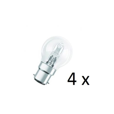 4 x Osram Halogen BC-B22 Eco Classic 42W Energy Saver Golf Ball Shape Light Bulb