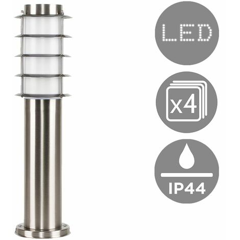 4 X Outdoor Stainless Steel Bollard Lantern Light Post 450mm - No Bulbs - Silver