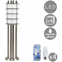 4 x Outdoor Stainless Steel Bollard Light Post 450mm + 4w LED Candle Bulbs - 3000K Warm White