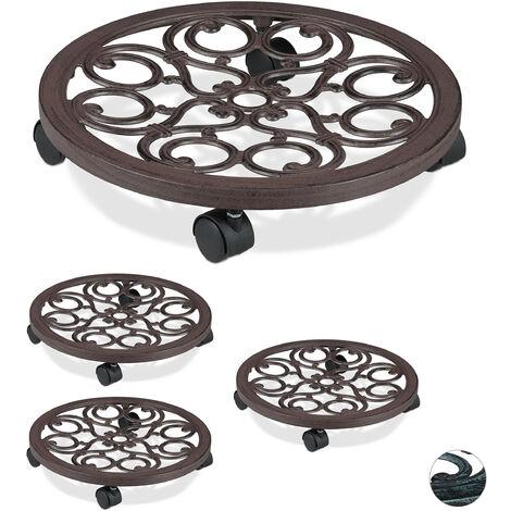 4 x Pflanzenroller rund, Metall, Gefäßroller für innen & außen, antik, Ø 38 cm, Rolluntersetzer Blumentopf, braun