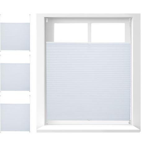 4 x Plissee Rollo ohne Bohren, Klemmfix zum Kleben, Faltrollo lichtdurchlässig, Faltstore weiß, BxH: 100 x 130 cm