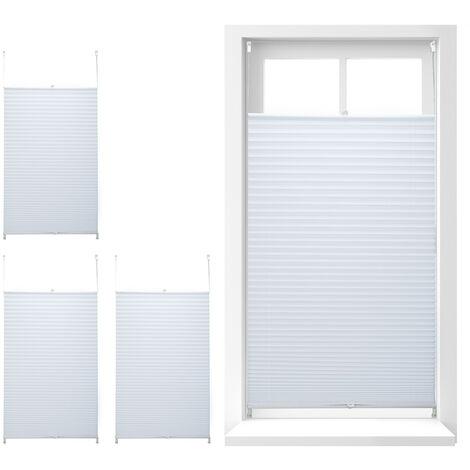 4 x Plissee Rollo ohne Bohren, Klemmfix zum Kleben, Faltrollo lichtdurchlässig, Faltstore weiß, BxH: 90 x 210 cm