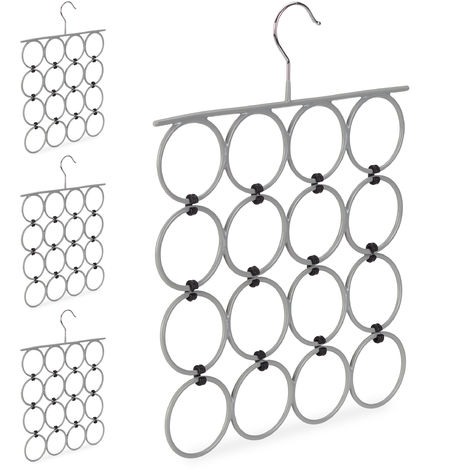 4 x Scarf Hanger, Folding Holder for Ties & Belts, 16 Rings, Compact Closet Organiser, Grey