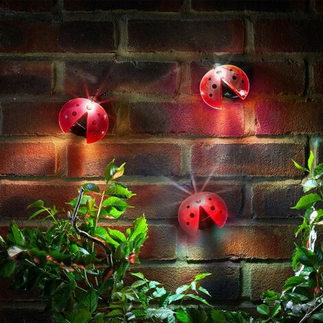 4 x Smart Garden Solar Lady Bug Ladybird Red Animal Wall Fence Lights 1080997