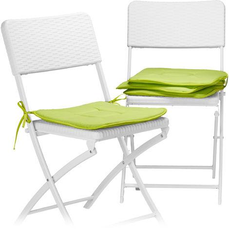 4 x Stuhlkissen, Sitzkissen mit Schleife, Auflage für Stühle, Haus und Garten, waschbar, Stuhlauflage Polyester, grün